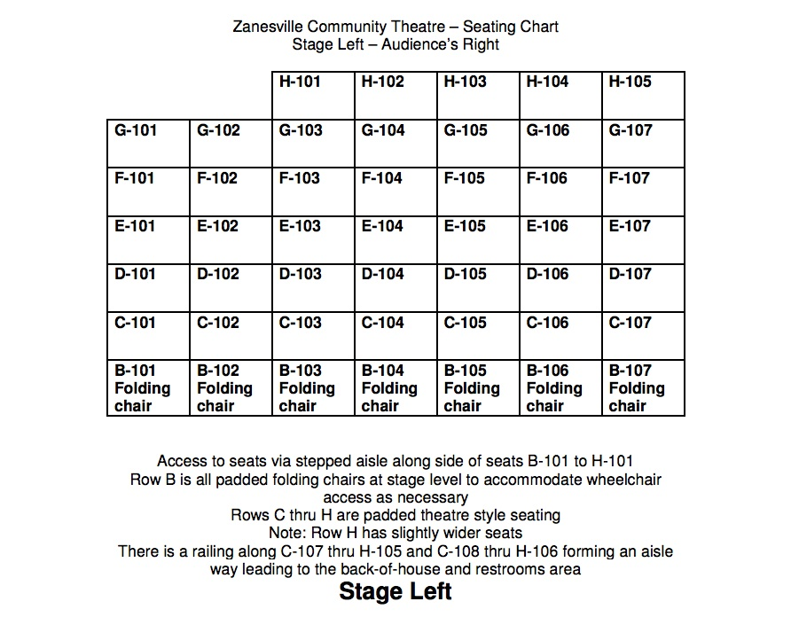 ZCT Seating Chart Stage Left
