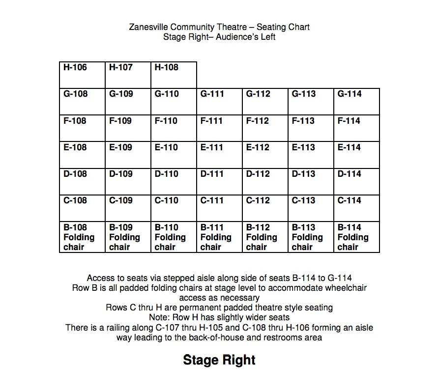 ZCT Seating Chart Stage Right